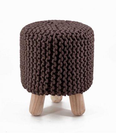 Taburete Alto en Textil : Modelo CROCHET marrón