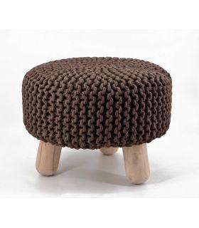 Comprar online Taburete Bajo en Textil : Modelo CROCHET marrón