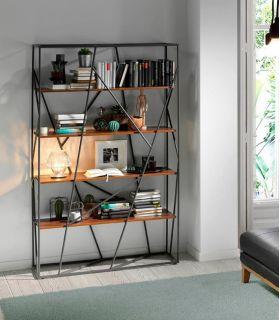 Comprar online Estantería Librería de Diseño en Acero : Modelo NEREA Nogal
