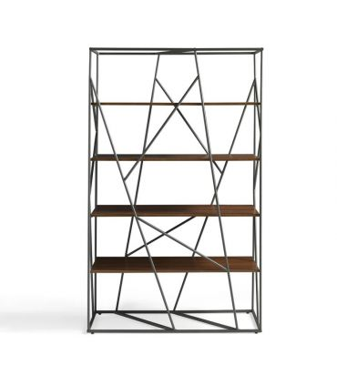 Estantería Librería de Diseño en Acero : Modelo NEREA Nogal