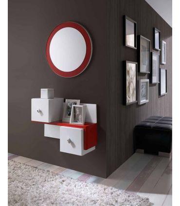 Mueble Suspendido para recibidor en Madera Lacada Rojo Modelo LISBOA