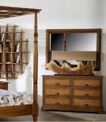 Cómoda en madera natural de Mahogany : Colección ALAMANDA