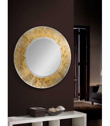 Espejo Redondo de Cristal/Pan de Oro : Modelo AURORA