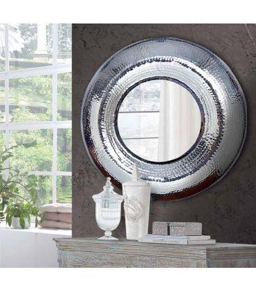 Espejo Redondo de Metal Plateado : Modelo AUREO
