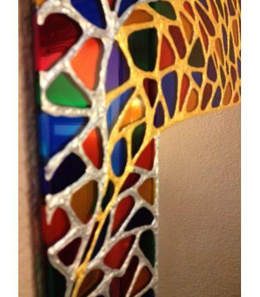Espejos Redondos de Cristal Decorados a mano : Modelo AZTECA