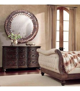 Comprar online Espejo decorativo Redondo de Aluminio color Bronce : Modelo MAGMA