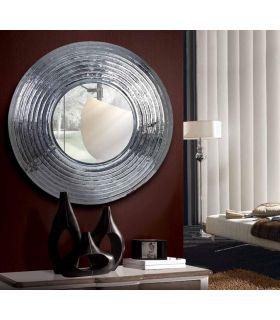Comprar online Espejo Redondo de Aluminio con marco Grabado : Modelo RODIANO