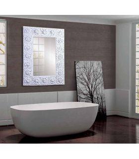 Comprar online Espejo Rectangular con motivos florales : Modelo TRESON Blanco