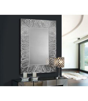 Espejo de Cristal con Decoración en Pan de Plata : Modelo RIZOS