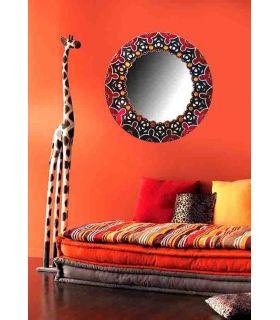 Comprar online Espejo de pared Redondo Decorado a Mano : Modelo MANDALA AFRICANA