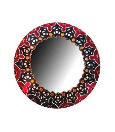 Espejo de pared Redondo Decorado a Mano : Modelo MANDALA AFRICANA
