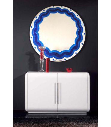 Espejos de Cristal Decorados a mano : Modelo BLUE RD