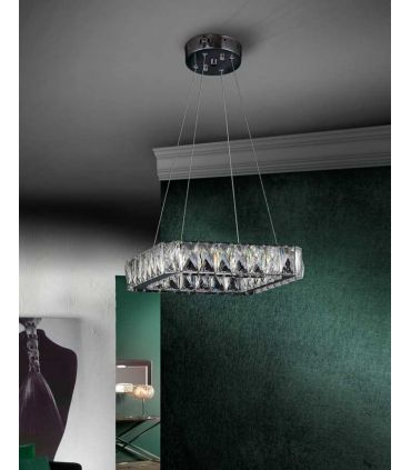 Lámpara LED de Cristal Facetado : Colección DIVA cuadrada