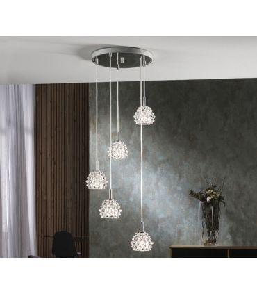 Lámpara de Metal con 5 tulipas de Cristal : Colección HESTIA II