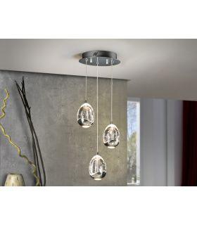 Colgantes LED de 3 luces : Colección ROCIO cromo
