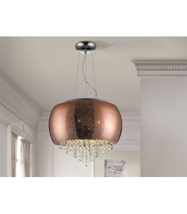 Colgante de cristal acabado Cobre 5 luces : Colección CAELUM Schuller