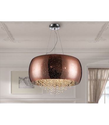 Lámpara de 6 luces Diseño Moderno Acabado Cobre : Modelo CAELUM