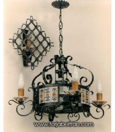 Lámpara rústica de forja: Mod. GIPUZKOA 4 Luces