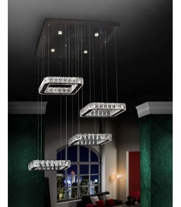 Lámpara de 4 Colgantes Cristal Facetado : Colección DIVA