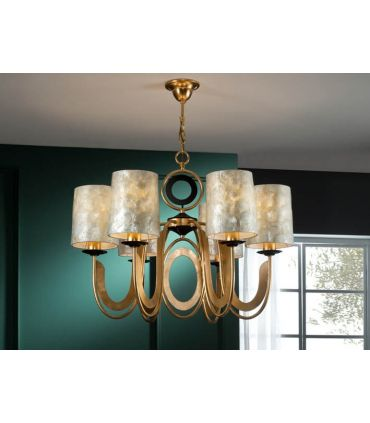Lámpara 6 Luces en Pan de Oro : Colección EDEN