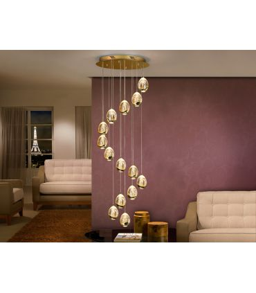 Colgantes LED de 14 luces : Colección ROCIO oro