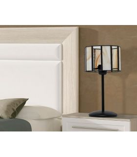 Lámparas de Mesita con pantalla : Colección CICLOPE opalina