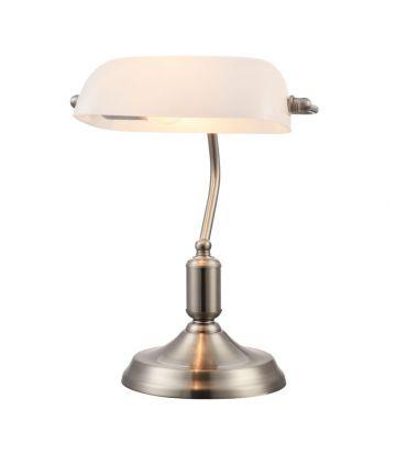 Lámpara de Mesa de Metal con Pantalla de Cristal Blanco : Modelo KIWI