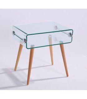 Mesita de noche de cristal templado y madera : Modelo HOLANDA