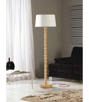 Lámpara de Pie en Madera y Textil : Modelo OCHOS