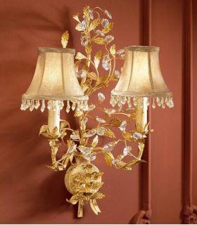Comprar online Apliques Florentinos con Pantallas : Colección VERDI Oro 2 luces