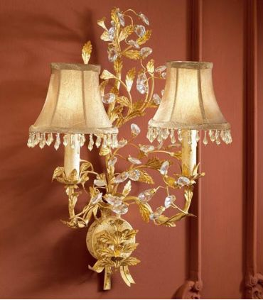 Apliques Florentinos con Pantallas : Colección VERDI Oro 2 luces