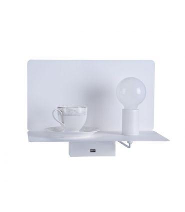 Aplique de Metal Blanco con Estante y Puerto USB : Modelo RACK