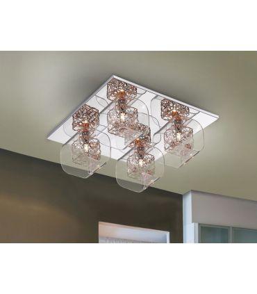 Plafón Moderno de Metal y Cristal de 4 luces : Colección LIOS
