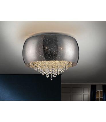 Plafón de 6 luces Cristal Espejado Plata : Colección CAELUM Schuller