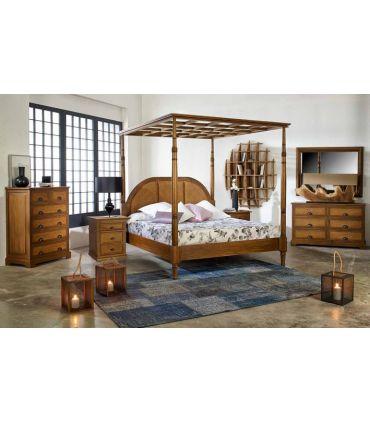 Mesita de noche en madera natural de Mahogany : Colección ALAMANDA