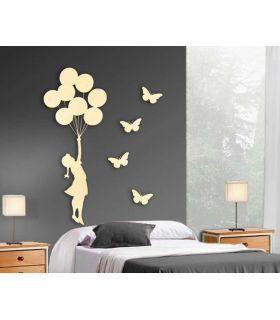 Comprar online Figura metálica de pared Modelo NIÑA GLOBOS con 4 mariposas