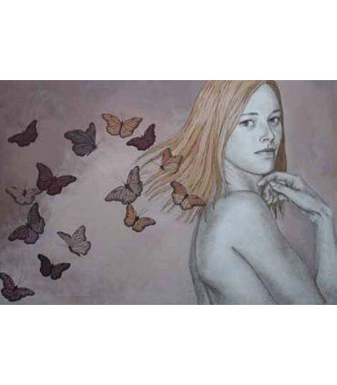 Pintura Original sobre lienzo GIRL BUTTERFLY