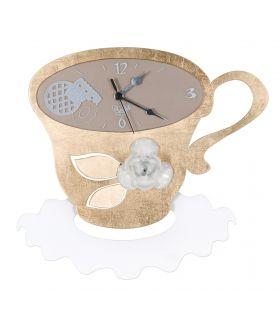Comprar online Relojes de Pared para Cocina TAZZA COCO pan de oro