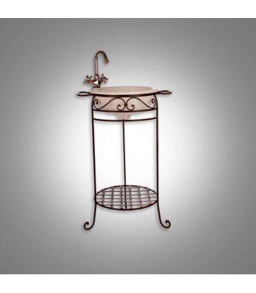Mueble de lavabo forja Mod. PALANGANERO AFRICA con espejo VENECIA