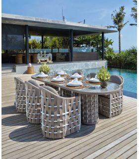 Comprar online Mesa de Comedor Ovalada para Terraza y Jardín : Colección STRIPS