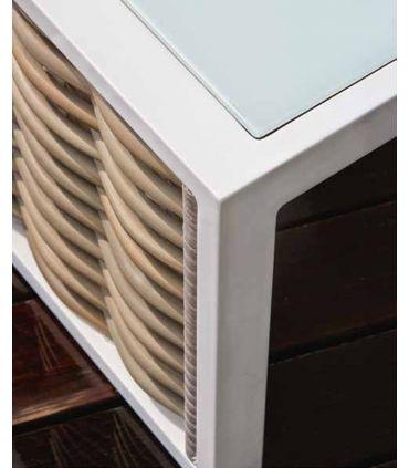 Mesas Auxiliares de Aluminio y Rattan Sintético : Colección OLIVIA