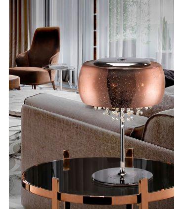 Lámpara de Mesa con Tulipa de Cristal Soplado CAELUM Cobre
