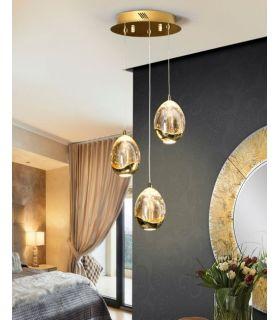 Comprar online Colgantes LED de 3 luces : Colección ROCIO Oro