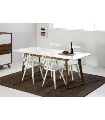 Mesa de Comedor Extensible TIVOLI Blanco/Roble