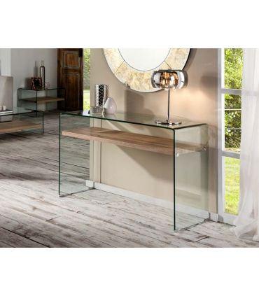 Consola de cristal templado y madera Colección SONOMA