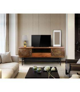 Comprar online Mesa de Televisión Industrial de Madera y Latón DRESDE
