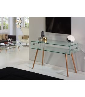 Consola de cristal transparente templado y madera GLASS II