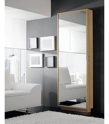Zapatero con frontal espejo vestidor en madera de haya COSMOS