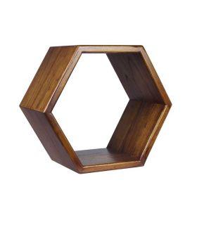 Comprar online Estante hexagonal en madera natural de mindi Colección NORDIC