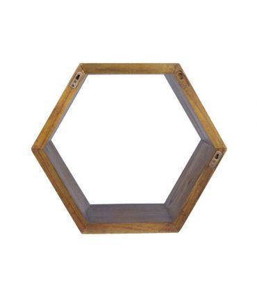 Estante hexagonal en madera natural de mindi Colección NORDIC